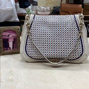 ANYA HINDMARCH CREAM/MULTICOLOR WOVEN LEATHER BAG
